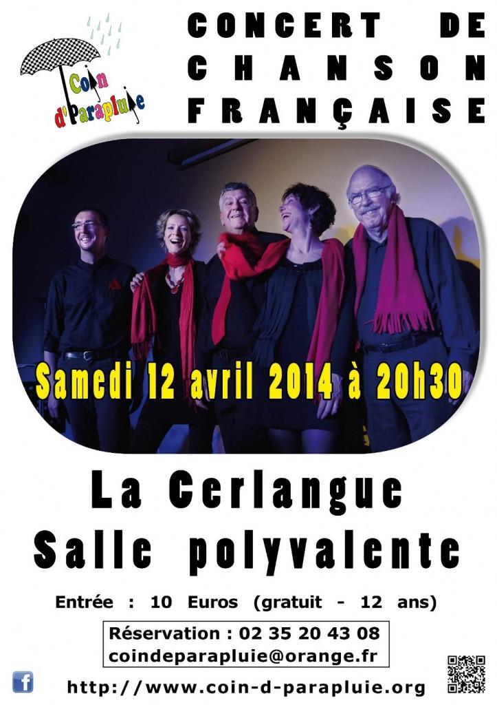 Concert Coin d'Parapluie le 12 avril 2014 à 20h30
